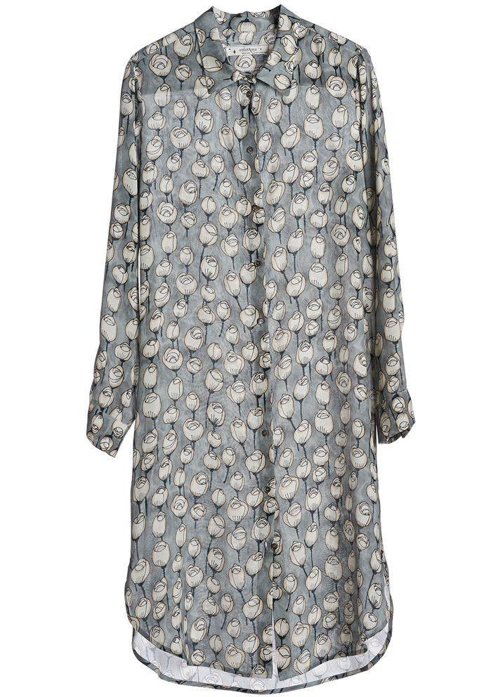 Ottod'ame Kjole silke print DC3453 Petit Camicia - Grigio – Acorns