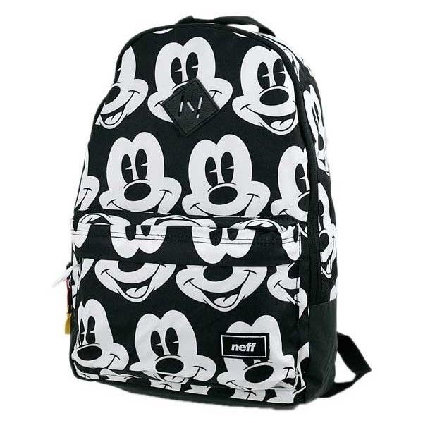 Neff All Mickey Backpack Bag Black/White ($63) ❤ liked on Polyvore featuring bags, backpacks, neff backpack, backpacks bags, knapsack bags, black white bag and rucksack bag