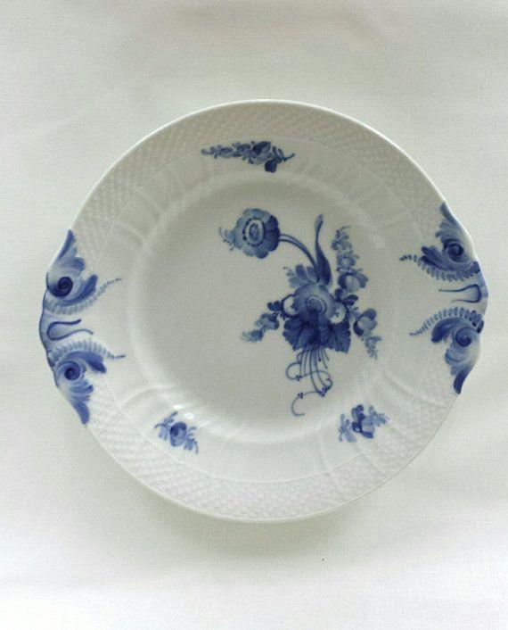 Royal Copenhagen blue flowers curved cake plate