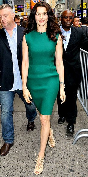 Rachel Weisz in a Lanvin shift and Gianvito Rossi heels. I absolutely love the color.