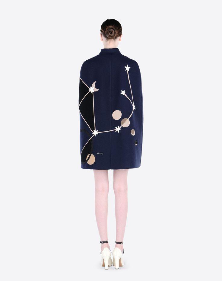 Valentino Online Boutique - Valentino Women Cape In Double Broadcloth + Cosmo Embroidery