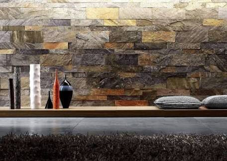 Pin 5: The builder used these stone wall in back of the counter to make the house more closer to the nature .
