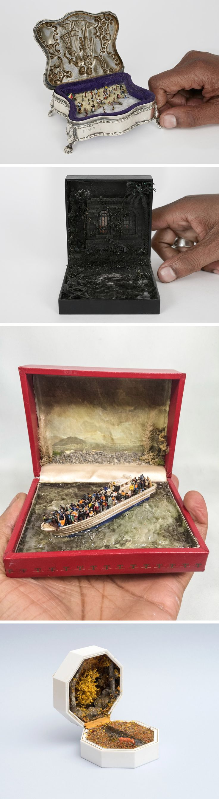 New Unexpected Miniature Scenes Staged Inside Jewelry Boxes by Curtis Talwst Santiago