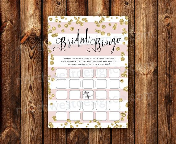 DIGITAL - Elegant Modern Gold Bling Pink Stripe Bridal Shower Bingo Printable Download Wedding Shower Game Cards Bridal Bingo Printable