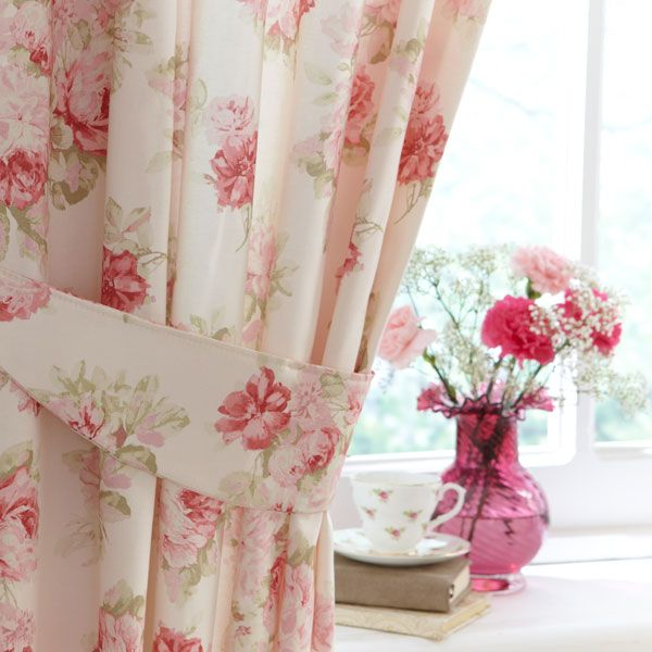 Pink Annabella Lined Pencil Pleat Curtains