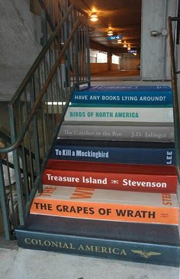 A fine set of stairs painted to look like books at a busy downtown parking garage. These were sponsored by The Greenville Literacy Association in Greenville, SC.