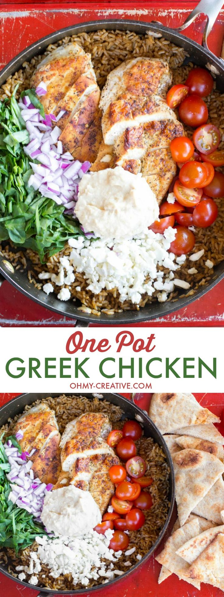 I absolutely love Mediterranean flavors like what's in this One Pot Greek Chicken and Rice recipe! Garden fresh tomatoes, hummus and perfectly seasoned chicken topped with feta cheese will have the family asking for more Greek food! Popular Pins!  | OHMY-CREATIVE.COM