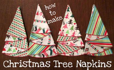 Christmas tree napkins  step by step instructions found at http://www.joann.com/christmas-tree-napkin/prod740391/
