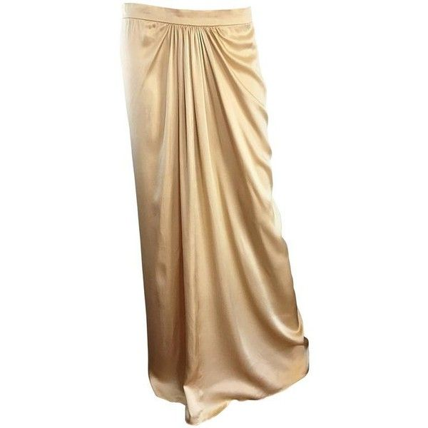 Preowned Pamela Dennis Couture Vintage Gold ' Liquid ' Silk Grecian... ($895) ❤ liked on Polyvore featuring skirts, flare skirts, gold, long pleated skirt, long camisole, long gold skirt, long skirts and gold pleated skirt