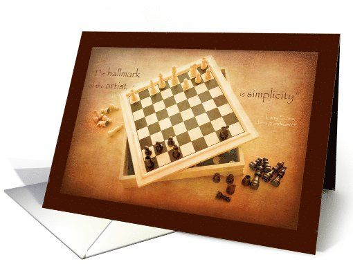Chess board simplicity artist - blank note card by steppeland
