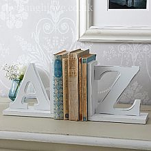 White Distressed A-Z Bookends