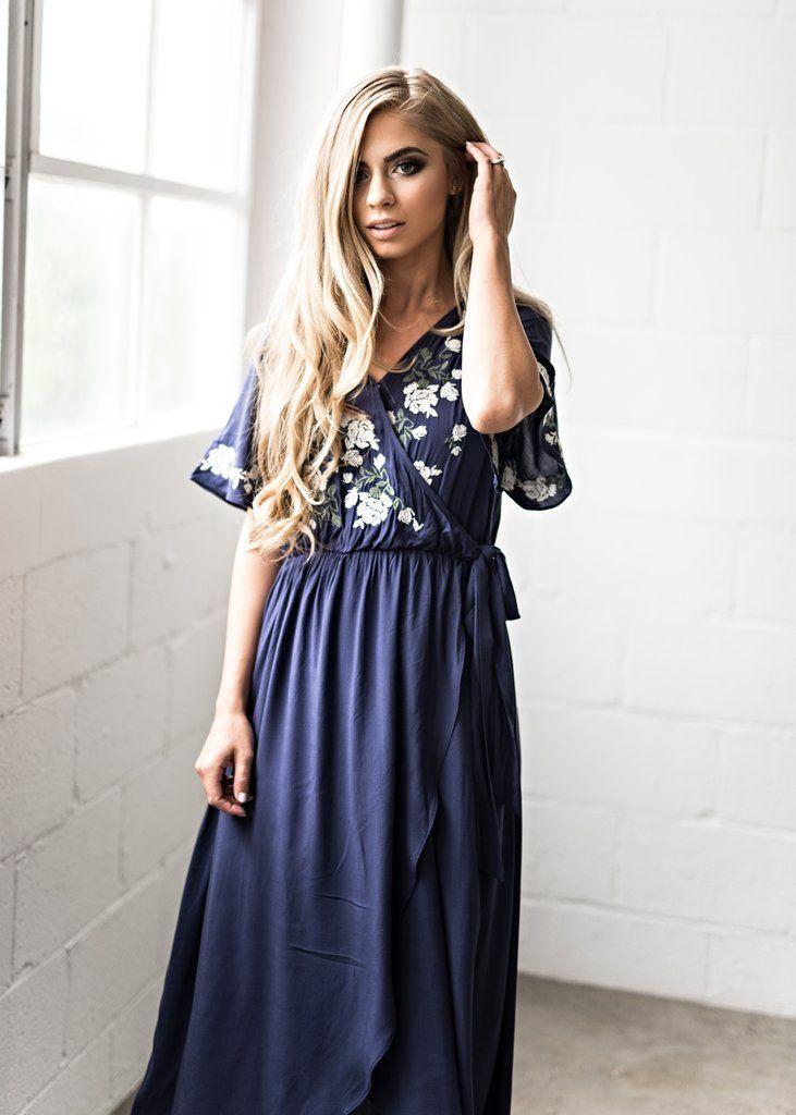 c6b82a94aa8 Navy Rosebuds   Romance Maxi Dress
