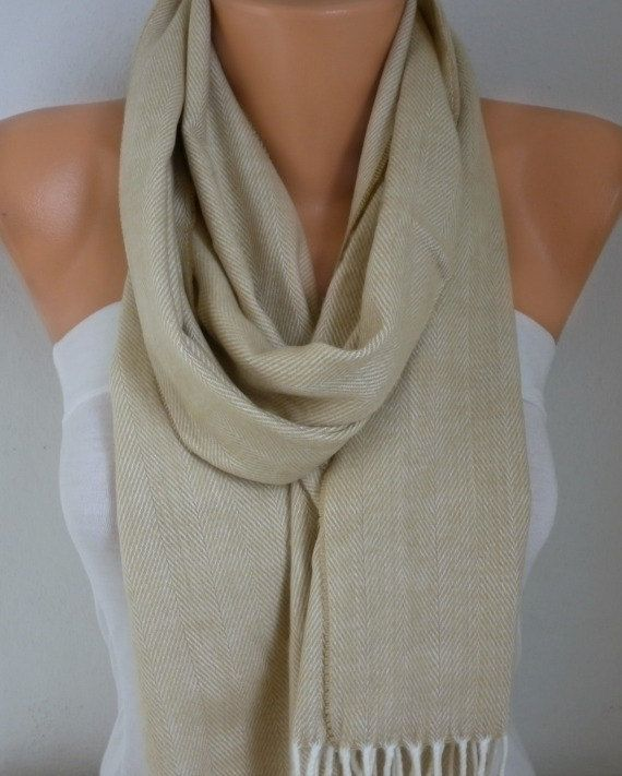 Beige Unisex Scarf Mother's Day Winter Zigzag by fatwoman on Etsy