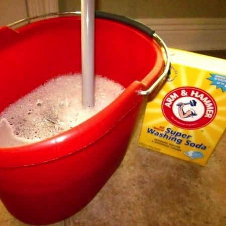 Heavy duty floor cleaner recipe… ONLY use this and it leaves floor spotless. (Heavy duty floor cleaner recipe: 1 cup white vinegar, 1 tablespoon liquid dish soap, 1 cup baking soda, 2 gallons tap water, very warm.) It leaves everything smelling amazing.