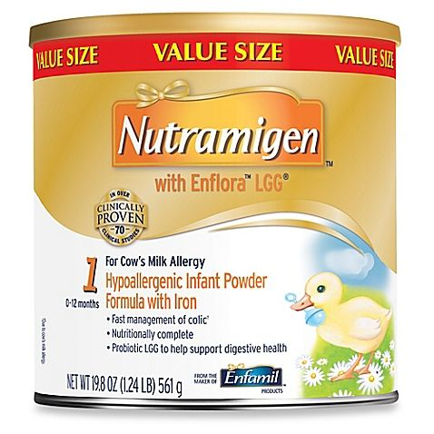 Nutramigen® with Enflora™ LGG® 19.8 oz. Infant Powder Formula with Iron This is prescription formula. You will not need to use this unless your doctor tells you to, most likely if your baby has colic or is allergic to lactose.