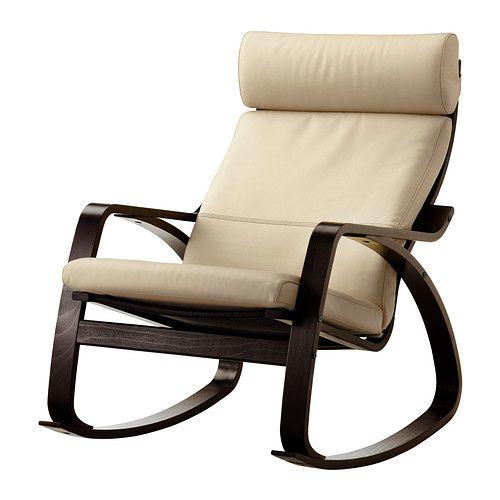 POÄNG Chaise berçante - Glose coquille d'oeuf, brun-noir - IKEA