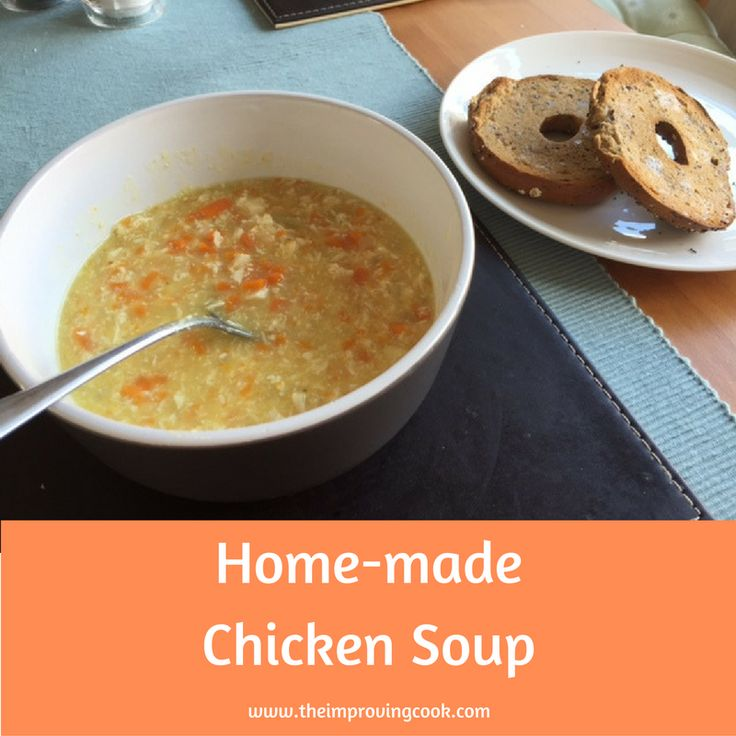 Today though, I made chicken soup as I had a chicken breast that needed using up. It's so good with crusty bread, but today we had it with multigrain bagels, just as nice! It's a very straight forward soup with a butter, onion, potato and carrot base.