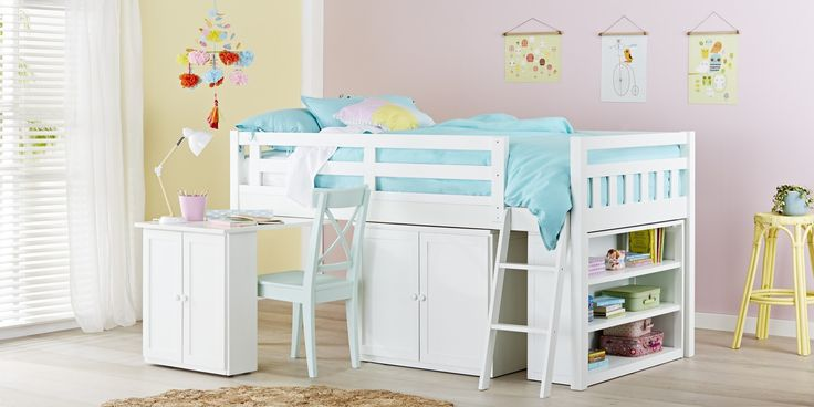 Aztec Cabin Bunk - The Aztec Cabin bunk bed is more than just a modern bed, it's practical, versatile and includes the ideal storage solution. Designed to incorporate a pull out desk, your child will have the space to study. A two-door cupboard will give your child more room for storage, plus a book case for neat storage of their books. This multipurpose bunk is made of a Pine & Ply Wood combination, and finished in beautiful Arctic White. This bunk is a great space saver with a height ...