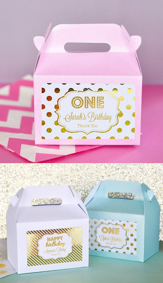 1st Birthday Party favor boxes are a cute way to thank guests for coming to your little baby girls 1st birthday party. Shiny foil labels in silver or gold on a pink (or any color) box can be customized with a design to match your event - from babies to birthdays and everything in between.