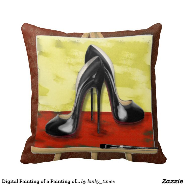 Digital Painting of a Painting of Black Stiletto's Throw Pillow