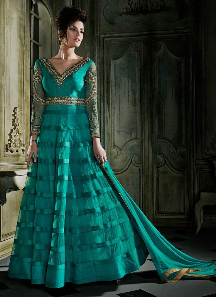 Teal Net Layered Anarkali Suit