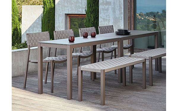 Phoenix Outdoor Furniture Collection Welded Aluminum Frames Offered In Taupe Finish Features Textilene Cross Strap Designed In France Pinterest