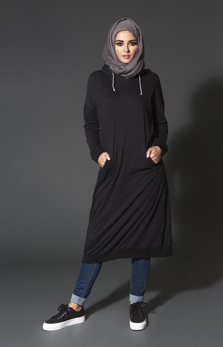 Hijab Fashion 2016/2017: Cozy comforters are a must have for your Winter into Spring transitional wardrobe Loose cut midi Hoody with quilted pockets and ribbing detail looks great paired with jeans or Aabs Ankle Grip Trousers. A style staple that every wardrobe needs! www.aabcollection #littleblackhoody #aabcollection #spring #modestwear #comfort