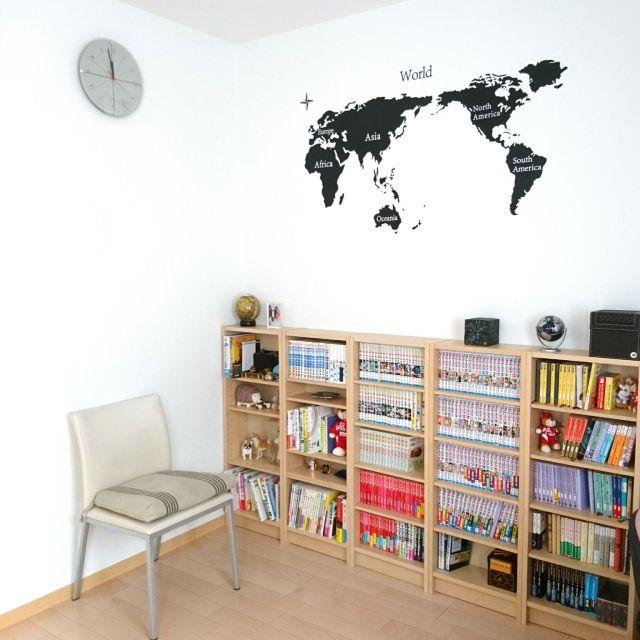 wankorolinさんの、本棚,ウォールステッカー,ふたり暮らし,地図,ニトリ,IKEA,一軒家,棚,のお部屋写真