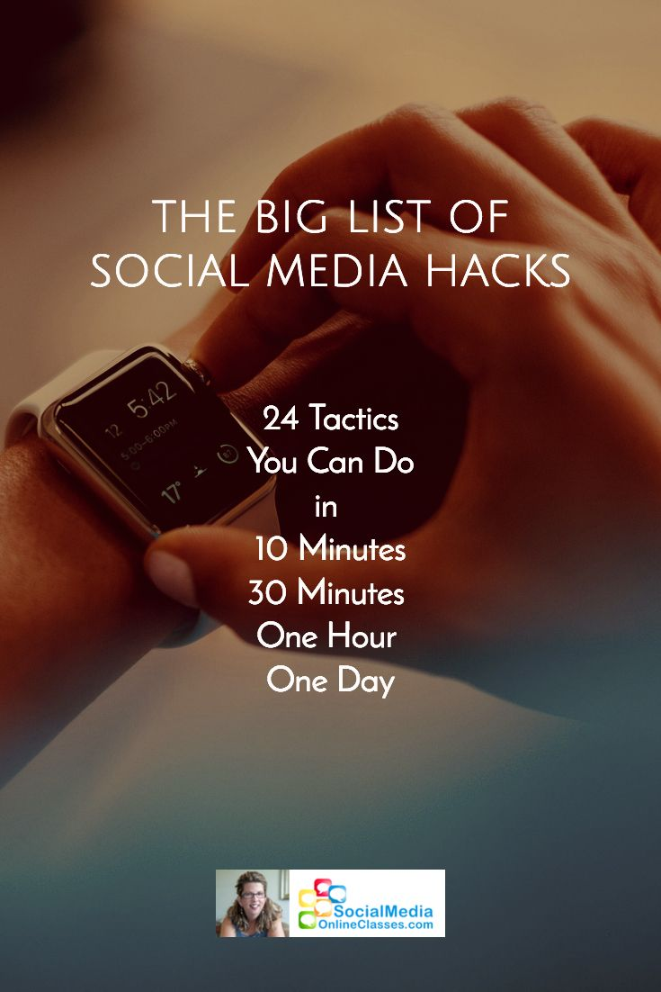 The best social media tactics to check off your list, categorized by 10 minutes, 30 minutes, 60 minutes, one hour and one day. Includes tutorials, videos, and infographics.
