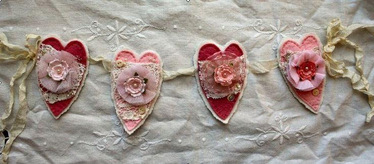 Embellished Felt Valentine's Hearts
