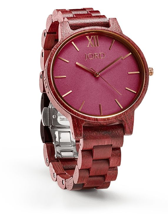 nature-inspired accessories Frankie Series - Purpleheart and Plum JORD wooden women's watch