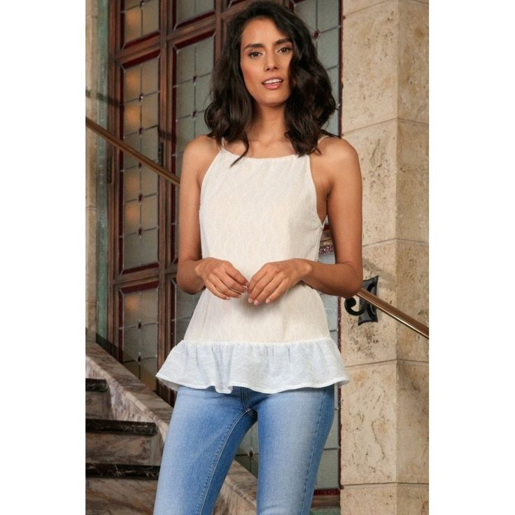 Off-White Stretchy Lace Ruffle Halter Cute Fancy Dressy Top - Women