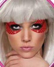 Lady Gaga Glitter Eyepieces Red Pop Star Fancy Dress Halloween Costume Accessory