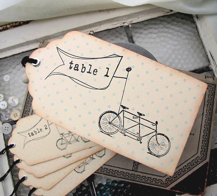 Wedding Escort Card Vintage Inspired Tandem Bicycle Tag