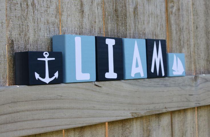 Nautical Anchor Sailor Baby Shower, Sailboat Nursery, Name Blocks, Sailor Decor Nursery Baby Shower Decoration, Nautical Anchor Decoration by KnottedPineDesign on Etsy https://www.etsy.com/listing/204637625/nautical-anchor-sailor-baby-shower