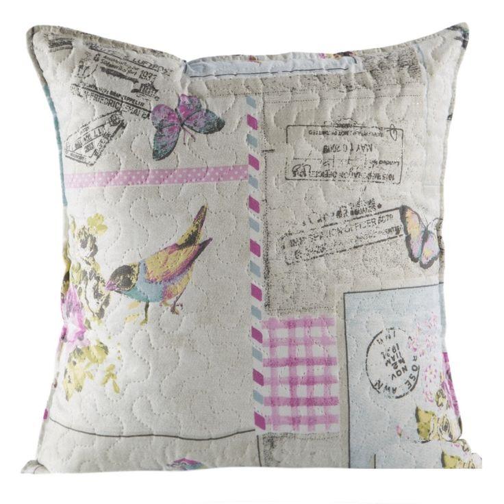 Beżowa poszewka na poduszkę 40x40 z ptaszkami