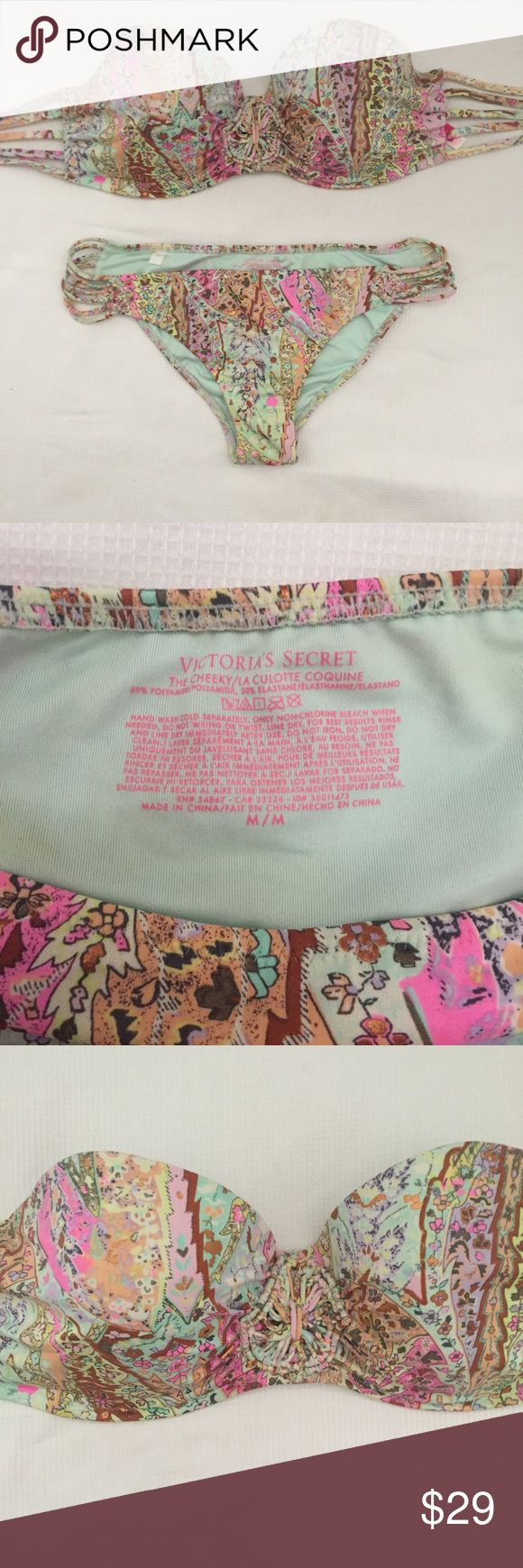VICTORIAS SECRET bandeau bikini set 34DD and M Gently worn (probably 4-5 times)- still in great condition! Size 34DD top and M cheeky bottoms - true to size. Straps come with and can be attached to top easily! Victoria's Secret Swim Bikinis