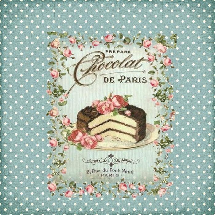 lámina vintage para decoupage. Pastel de chocolate de Paris