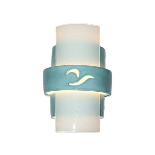 A19 RE121 South Beach 1 Light Wall Washer Sconce from the reFusion (¥44,735) ❤ liked on Polyvore featuring home, lighting, wall lights, indoor lighting, teal crackle and white frost, wall sconces, outdoor sconces, outside wall lights, wall mounted lights and wall-mounted lamps