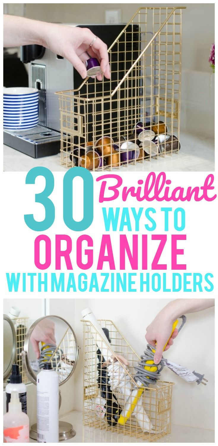 Who would have ever thought you could use a magazine holder for anything other than magazines? But to our surprise there are so many ways to use magazine holders to organize your home! Seriously! Pantry storage, toiletry storage, hiding your wireless router…even organizing your freezer. The thing you can do with these are endless! Magazine ... Read More about 30 Clever Ways to Organize With Magazine Holders