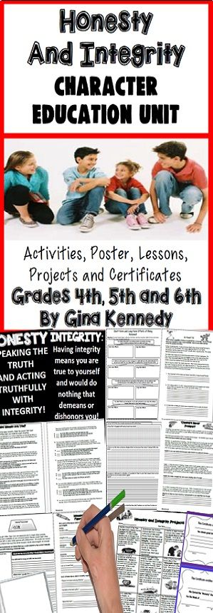 """""""Honesty"""" and """"Integrity"""" character education unit for upper elementary students. Engaging lessons, activities and projects that reinforce the importance of being honest and having integrity in everyday life situations. From quotes, """"How Honest are You Surveys"""", project menu, and honesty writing activities to real life student examples, this unit will grasp your student's attention. $"""