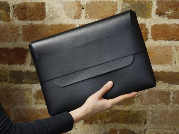 Black Leather MacBook Sleeve - MacBook Pro Sleeve - Laptop Sleeve - Laptop Case - Laptop Bag - MacBook Air Case | by BLUE & GRAE