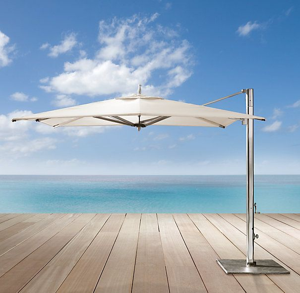 Tuuci catilever umbrella limited colors available at for Restoration hardware outdoor umbrellas