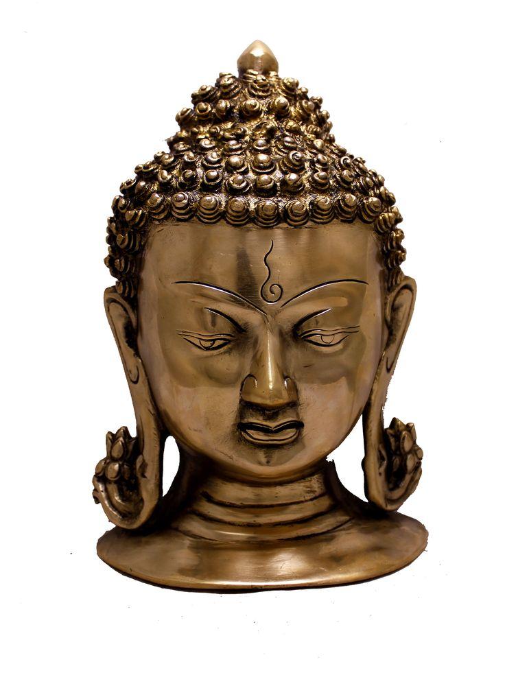 "(sku no:buddha head brass statue_234) Indian Religious Two Tone Lord Buddha Head Brass Idol Sculpture Statue 8.2""x5.5"""