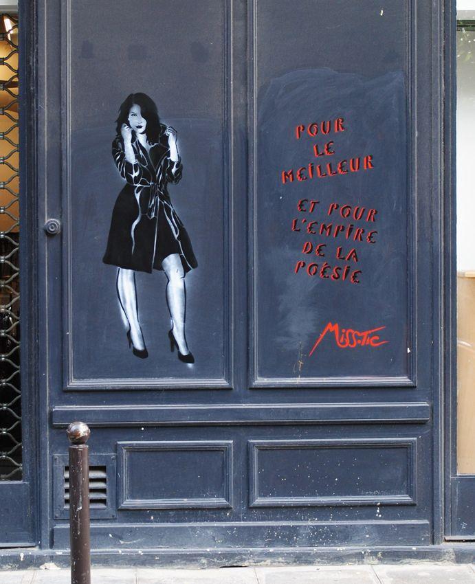 """""""Pour le meilleur"""" Street art (Rue Favart * Paris 1er) de Miss.Tic (1956 à Paris) artiste plasticienne et poète d'art urbain."""