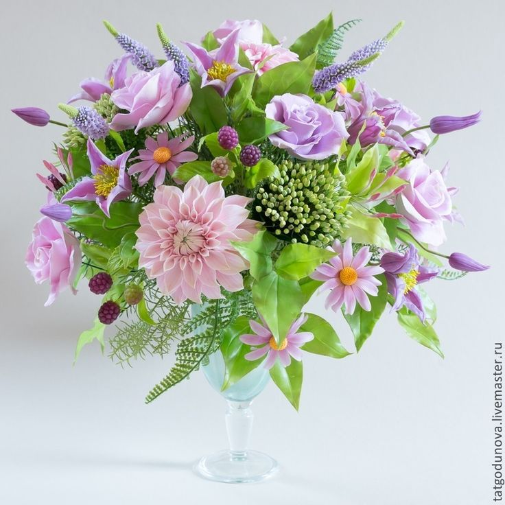"""Купить Букет из глины """"Джорджина"""". - сиреневый, розовый, фиолетовый, бордовый, георгин, розы, жасмин, седум"""
