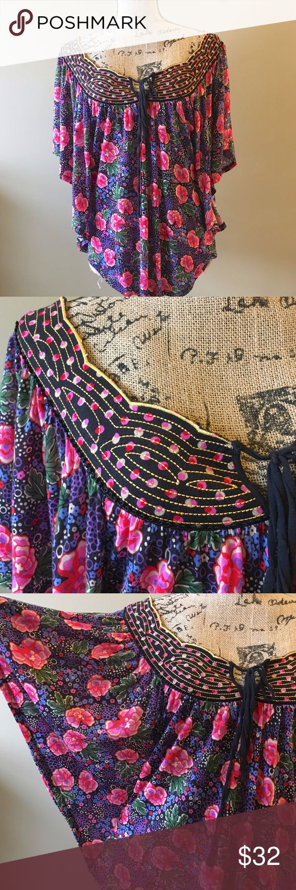 """Anthropologie batwing embroidered floral top Perfect condition, zero signs of wear. Ric rac for Anthropologie. Busy measures approx 19"""" when laid flat. Length at the longest point is 37"""". Oversized and very roomy. Will fit up to a large. Add this to a bundle to save 15%. Anthropologie Tops Tunics"""