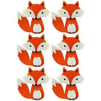"""Motifs déco """"renards"""", en feutrine, avec point adhésif sur le dos, pour décorer des cartes, des tables, des couronnes, etc.,dim. : 5,5 cm, lot de 6 pièces."""