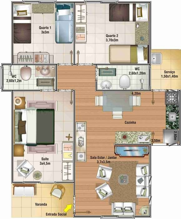 planos de casas por partes