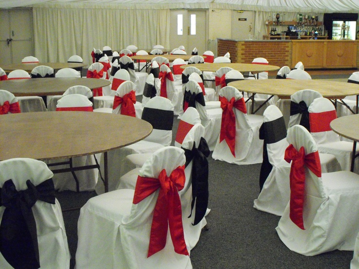 Alternative Black and Red Satin Bows on White Chair Covers